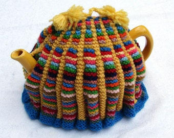 Vintage TEA COSY, cozy teacosy teacozy, rainbow colours, hand knitted, 1950s, 60s, multi colored tea party, gift for women, men, retro chic
