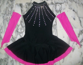 Black and fuchsia pink figure skating dress with gloves for 4-6-8-10-12-14-16 years girls with crystals, competition dress