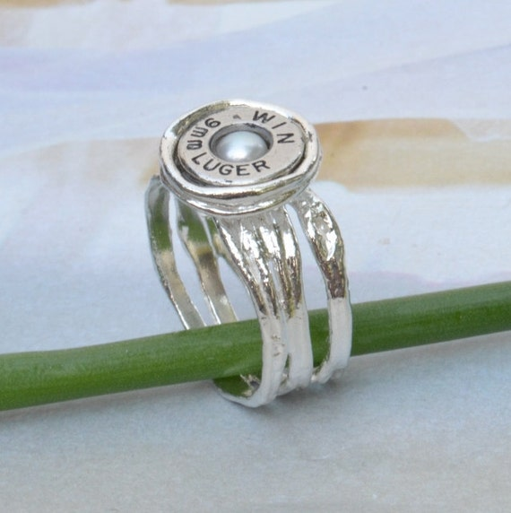 bullet jewelry pearl bullet ring silver bullet ring white