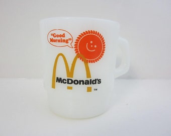 "McDonald's Coffee Cup Mug  ""Good Morning Sun"" 1970s Anchor Hocking Fire king Made in U.S.A. Milk Glass"