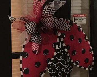 Burlap Ladybug Door Hanging Wreath