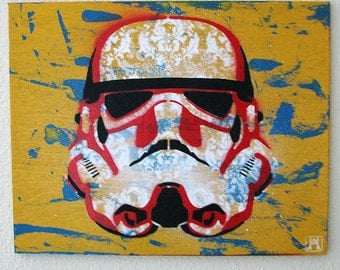 Star Wars Multilayer Graffiti Stencil Art on Wood Panel