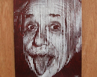 Albert Einstein Graffiti Stencil Art on Stained Wood Panel