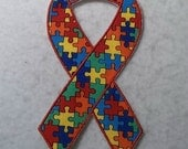 Puzzle Piece Awareness Ribbon (Autism) - MADE to ORDER - Choose SIZE and Color - Tutu & Shirt Supplies - fabric Iron on Applique Patch 7012