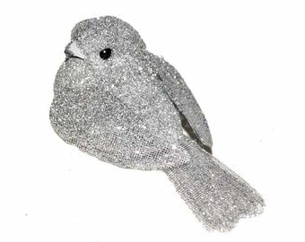 12 pc 3 Inch Silver Glitter Bird (Romeo) for Weddings, Parties, Floral Arrangements, Costumes, Photography, Wreaths