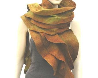 Felted ruffled scarf,  merino wool felt shawl -  Holiday Fashion green, brown, colorful scarf, by Laura Major