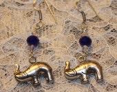 Elephant Blue Swarovski Animal Safari Silver Plated Dangle Earrings Good Luck Fortune