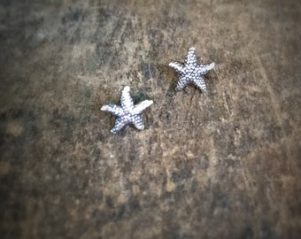Tiny Starfish Stud Earrings, Sterling Silver Sea Stars