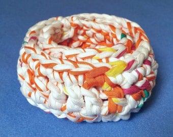 Two Small Recycled T-shirt Nesting Baskets Bowls - orange and white, crochet tshirt yarn tarn