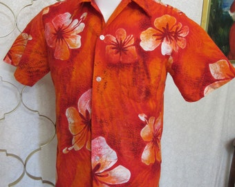 Vintage Barkcloth Hawaiian Shirt Bright Orange Hibiscus Lahua Made in Hawaii-M