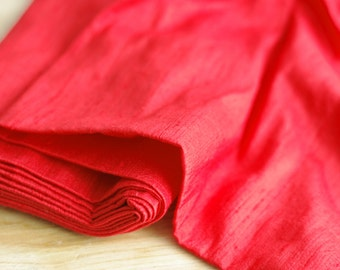 SALE - Red Dupioni silk fabric - 100% pure silk