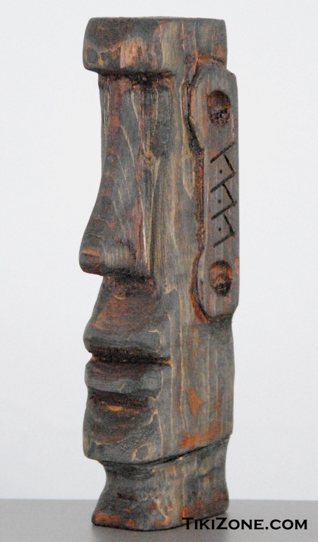 Wood moai easter island hand carved tiki