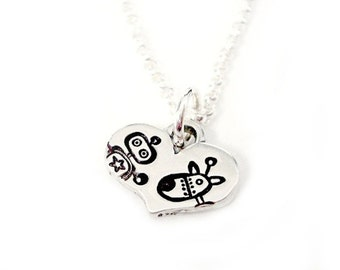 Mad A Bot You RoboDog 3000 - Hand stamped Sterling Silver Heart Pendant Robot Style Jewelry