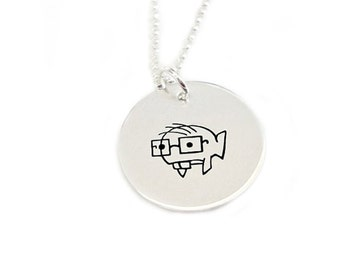 Hand Stamped Metal Sterling Silver Pendant Jewelry - Mr. Humann - Fun Series Two