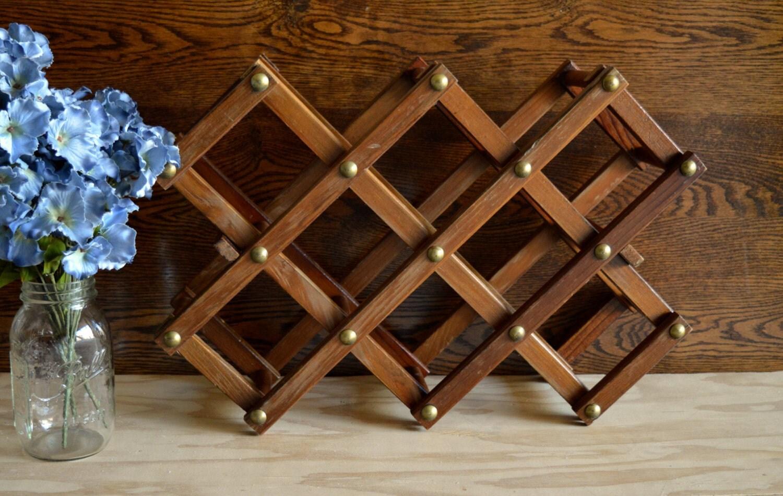 Vintage Rustic Wooden Accordion Wine Rack Kitchen Decor