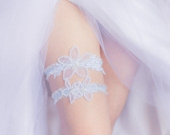 Something Blue - Wedding Garter Set,  White Lace, Blue lace band, Beaded, Beads, For the bride, Getting ready, Bridal Shower Gift, Lingerie