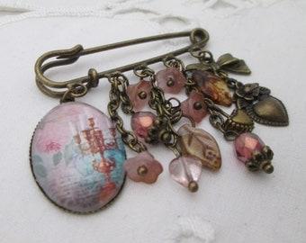 Kilt pin brooch - candelabra, pink rose, hearts, retro, bronze