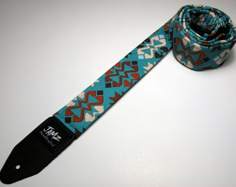 Southwestern Handmade double padded turquoise native american guitar strap - IROQUOIS - 2 patterns to choose from