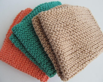 Set of Three Cotton Knit Face/Kitchen/Cleaning Cloths, Hand Knit, ready to ship