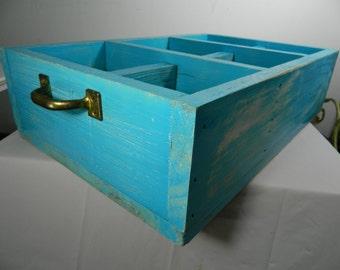 Vintage Wood Divided Box, Garden Tray, Shadowbox, Shabby Chic Storage Box