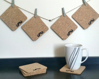 Mustache Coasters - Cork Mustache Coasters - Gift for Him - Gift for Her - Father's Day Gift - Sets of 4 or Sets of 8
