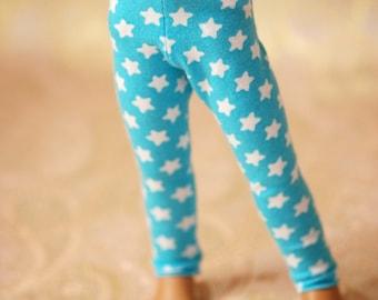 YoSD Aqua And White Star Leggings For Ball Jointed Dolls