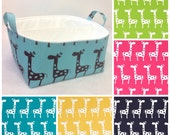 "Customize XLA Diaper Caddy 13""x11""x7"" Fabric Bin, Fabric Storage Organizer, Basket, choose Giraffe and Lining Colors"