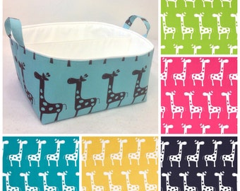 "Customize XLA Diaper Caddy 13""x11""x7"" Fabric Bin, Fabric Storage Organizer, Basket, choose Giraffe and Lining Colors"