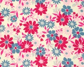 CLEARANCE - Blue and Pink Floral Fabric - Caravelle Arcade by Jennifer Paganelli from Free Spirit - 1 Yard