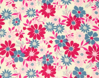 SALE - Blue and Pink Floral Fabric - Caravelle Arcade by Jennifer Paganelli from Free Spirit - 1 Yard