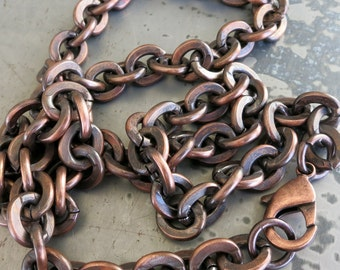 CHUNKY COPPER Bracelet or Necklace,  Bright Copper or Hand Oxidized, Men's Bracelet, Heavy Chain, Finished Chain, Made to Order