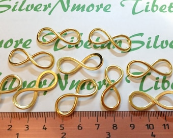 12 pcs per pack 29x12mm Medium Infinity Link Yellow Gold Finish Lead free Pewter