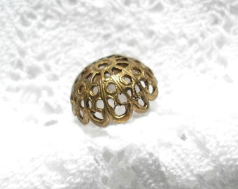 9 Pc. Large 14mm Antiqued Brass Filigree Bead Caps