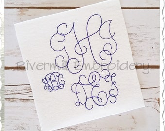 Vintage Vine Intertwined Machine Embroidery Font Monogram Alphabet - 3 Sizes