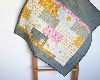 Baby quilt, cot pram quilt, stroller cover, baby shower gift, blue grey orange pink