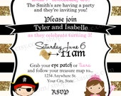 Pirate & Princess Birthday Invitation - Printable Party Invite - Boy/Girl Birthday, Twins, Triplets, Quadruplets Birthday Party