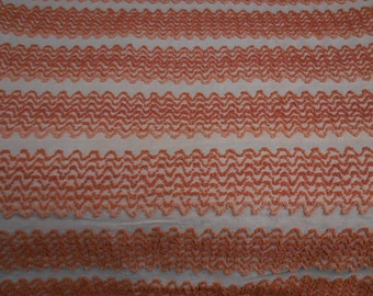 "Rare Cabin Craft ORANGE ZIG ZAG Stripes Vintage Chenille Bedspread Fabric - 25+"" X 60+"" - #2"