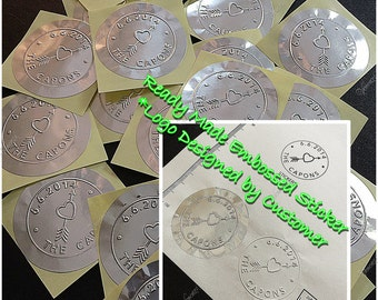 """2"""" Serrated Ready Made Custom Logo Seal Sticker 100pcs Pack - Silver Foil (plus GIFT)"""