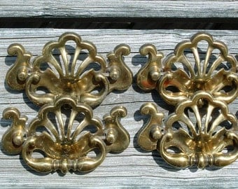 Large Vintage Brass Drawer Pulls Lot of 4 Chippendale With Decorative Cutouts Pierced Colonial