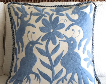 1 Hand Made Embroidery Pillow Cover Mexican Folklore Birds in Blue Color 18 x 18
