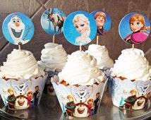 Frozen Cupcake Toppers Disney Frozen Cupcake Wraps Frozen Party Favors Disney Frozen Favors Cupcake Toppers and Wraps Set Olaf Elsa