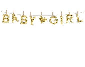 Gold Sparkles Baby Girl Clothesline Clipart