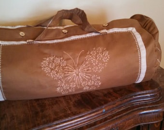 Historical Linen Travel Bag with hand embroidered butterfly custom made