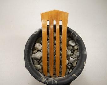 4 prong Olive wood hair fork