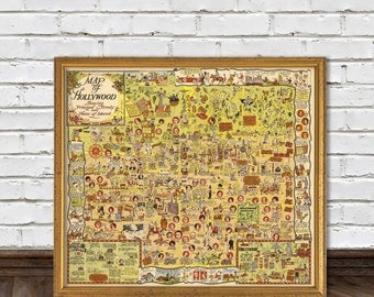 Hollywood map -  Illustrated map of Hollywood - Giclee reproduction