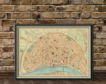 Cologne map - Old map of Cologne fine print - Karte von Köln