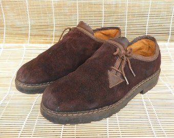 Vintage Man's Brown Suede Side Lace Up Shoes - Size 43 Euro / US 9