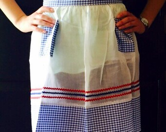 Vintage Kitchen Handmade Apron in Red, White and Blue