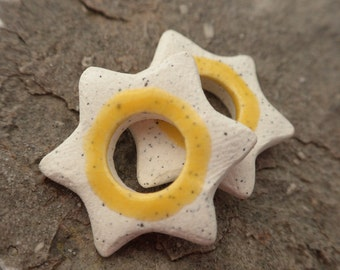 Sunshine Starbursts- handmade ceramic rustic tribal punk star earring pair speckled yellow bead pair 9362