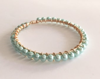Mint Green Pearl Wire Wrapped Gold Bangle Bracelet